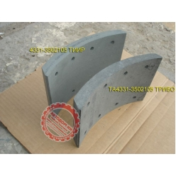 Накладки тормозные ПАЗ мост РЗАА б/асб 4331-3502105-10 сверленая ТИИР