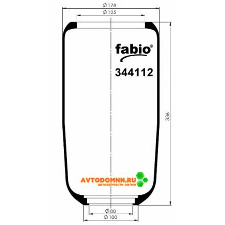 Пневморессора (чулок), V1 G12 A-6, AB 411S-L, 300mm-перед ПАЗ-Аврора 3237,3204 резина 344112 FABIO