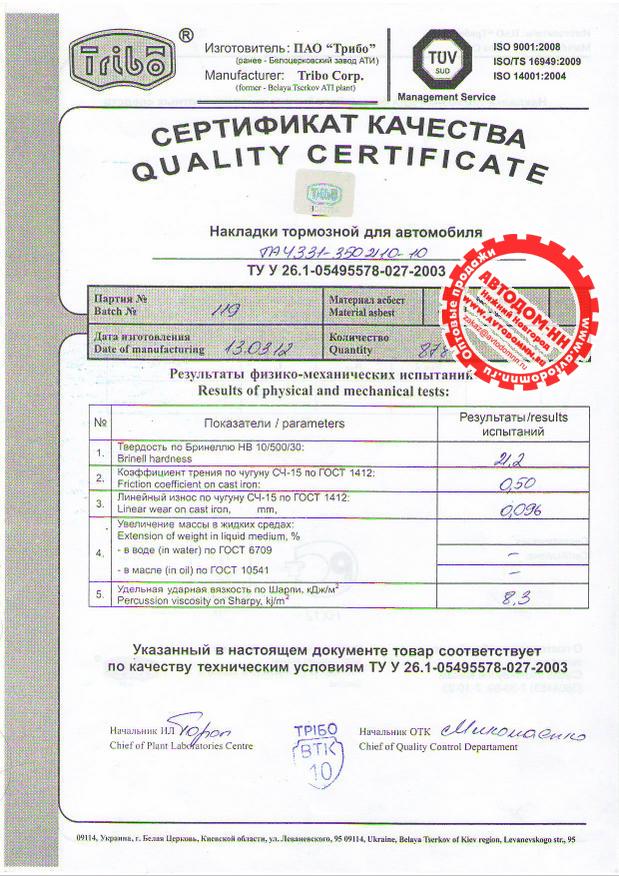 Сертификат на накладку тормозную ta4331-3502105 Трибо(Украина)